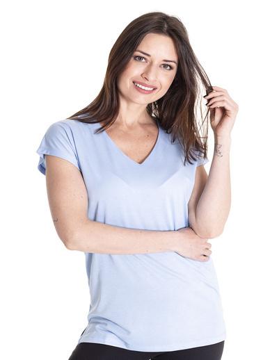 Stamina Derin V Yaka Kısa Kol Bluz Mavi